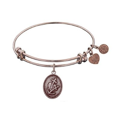Pink Smooth Finish Brass Faith, Hope, Charity Angelica Bangle Bracelet, 7.25""
