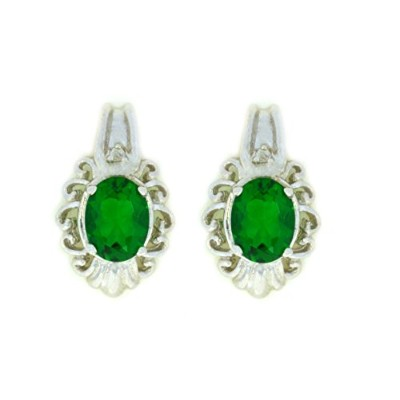 3 Ct Simulated Emerald & Diamond Oval Stud Earrings .925 Sterling Silver Rhodium Finish