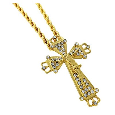 Iced Out Jesus Crucifixペンダントネックレス24cmロープチェーン