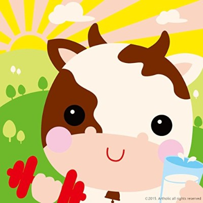 """DIY油絵、ペイントby Numberキットfor Kids–Drinking Cow 8"""" x8"""" (フレーム入りキャンバス) CFY-P-2518"""