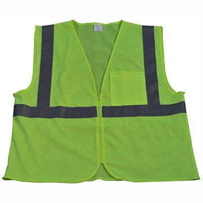 Petra Roc LVM2-CB0-L-XL Safety Vest Ansi Class 2 Contrast Binding44; Lime Mesh - Large & Extra Large