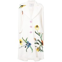 Carolina Herrera flower detail single-breasted coat - ホワイト