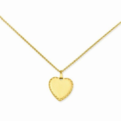 18in金メッキMedium Polished Engravable Heart Discネックレス