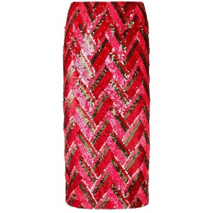 P.A.R.O.S.H. zig-zag sequined skirt - レッド