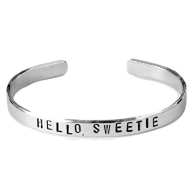 Doctor Who Inspiredブレスレット – Hello , Sweetie – Hand Stampedアルミカフブレスレット