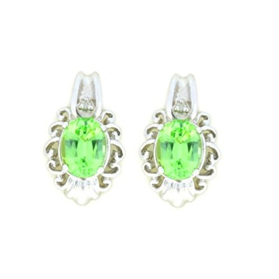 3 Ct Simulated Green Sapphire & Diamond Oval Stud Earrings .925 Sterling Silver Rhodium Finish