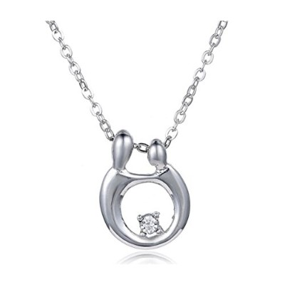 "(Silver) - Sterling Silver""Mother and Child"" Diamond Accent Pendant Necklace (Silver)"