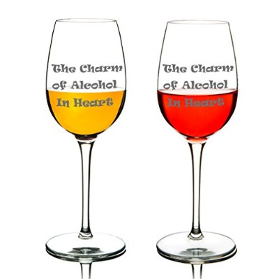 Michley TritanプラスチックWine Glasses Funny Word Unbreakable Glassware、結婚式、パーティー、BPAフリー、食器洗い機12.5 Oz 2...