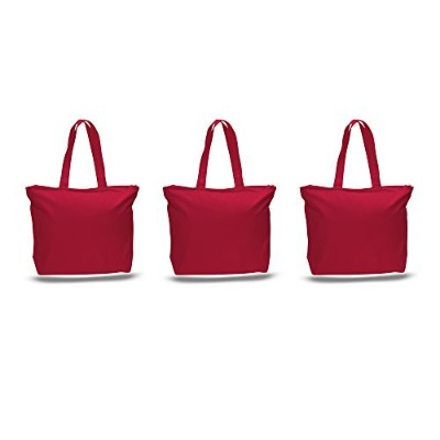 Pack of 3Largeヘビーキャンバスプレーントートバッグ、トップと内側ファスナー開閉by bagzdepot レッド