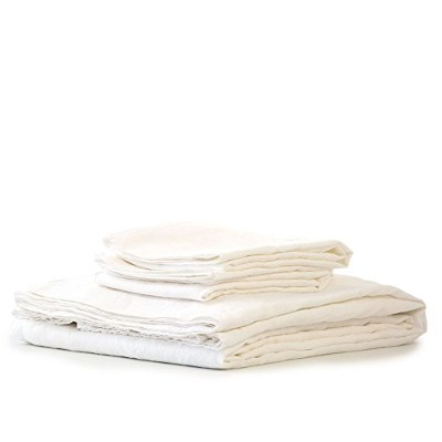 Bambeco 100% Pure Natural Flax LinenシーティングMade in Portugal Queen Sheet Set ホワイト