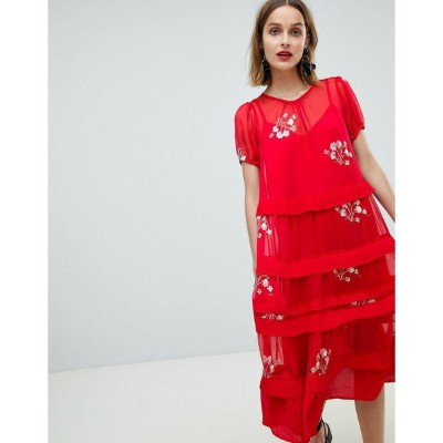 ロストインク レディース ワンピース トップス Lost Ink Smock Midi Dress With Sheer Layers In Sparse Floral Raspberry