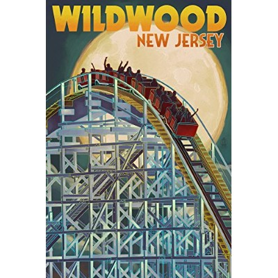 Wildwood、新しいジャージー–Roller Coaster and Moon 24 x 36 Signed Art Print LANT-43983-710