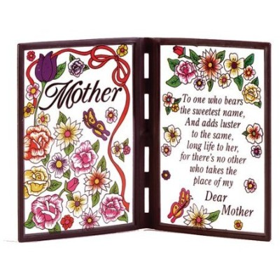 Gifts & Decor Framed Poetic Mother Mom Faux Stained詩ガラスPlaque
