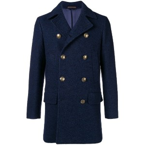 Eleventy double-breasted fitted coat - ブルー