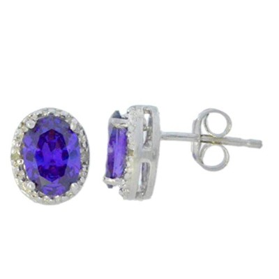2 Ct Amethyst CZ & Diamond Oval Stud Earrings .925 Sterling Silver Rhodium Finish