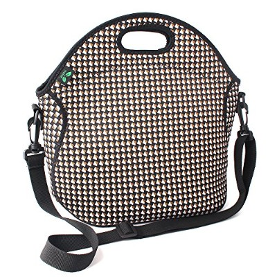 (White) - F40C4TMP Insulated Neoprene Lunch Bag with pocket & Adjustable Shoulder Strap Black 7L ...