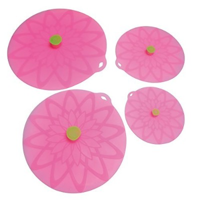 (4pcs Set, Pink) - JSS Round Silicone Suction Lid 6,8,26cm Food Cover Silicone Fresh Lid Cups Bowls...