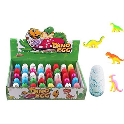 (Long oval) - UTOPP 40pcs Newly Dinosaur Eggs Hatching Toy Growing Pet with Mini Dinosaurs Figures...