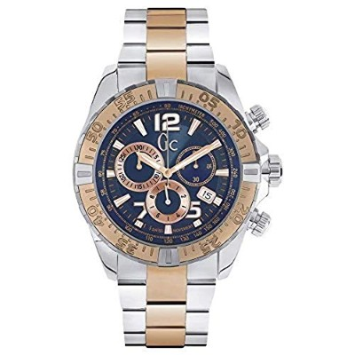 【当店1年保証】ゲスGUESS Men's GC Sportracer Blue & Rose Gold Timepiece