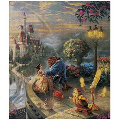 Beauty and Beast counted cross stitch kits 14 ct,300x348 stitch 54x54cm 美女と野獣 、クロスステッチキット300x300...