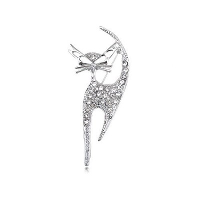 Alilang Silvery Tone Clear Crystal Coloured Rhinestones Cat Kitten Cut Out Brooch Pin