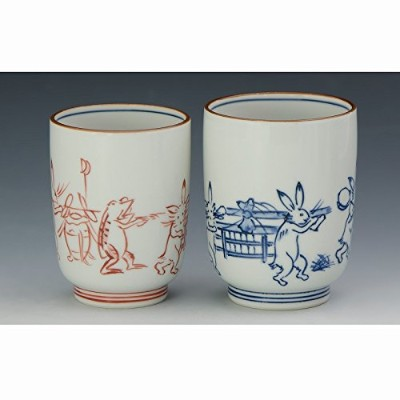 京焼・清水焼 磁器 夫婦組湯呑 染赤絵巻 紙箱入 Kiyomizu-kyo yaki. Someaka emaki Chojugiga Set of 2 Teacups Yunomi with...
