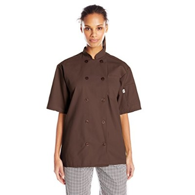 Uncommon Threads 0415-0206 South Beach Short Sleeve Chef Coat in Brown - 2XLarge
