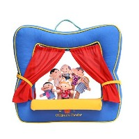 Finger Puppet Theatre Stage by Better Line - Set Includes 6 Finger Family Puppets - Portable Plush...