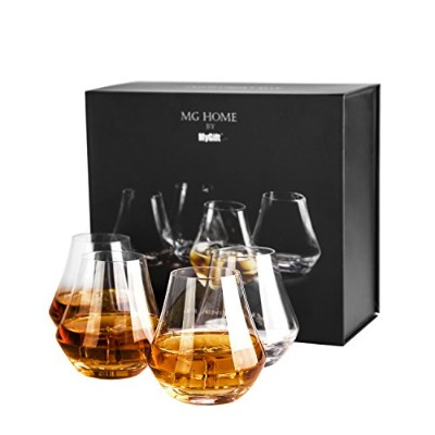 MyGift 350ml Clear Crystal Whiskey Snifter Tumbler Glasses Gift Box, Set of 4