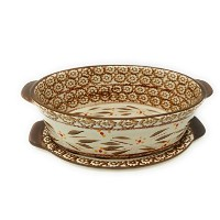 (Old World Brown) - Temp-tations Old World 1.4l. Oval Baker w/Lid-It, (Old World Brown)