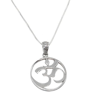 (Rhodium Plated (925 Sterling Silver Necklace)) - Mirabella BellaMira - Om and Lotus - 925 Sterling...