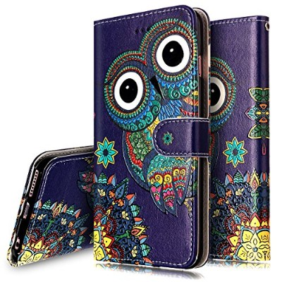 (Owl) - iPhone 6S Case,iPhone 6/6S Wallet Case, PHEZEN Aztec Owl Design Pu Leather Wallet Case with...
