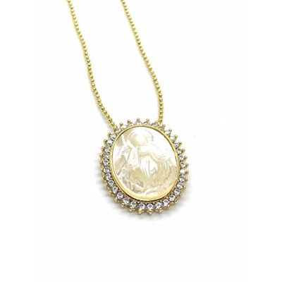 Leslie Boules Our Lady of Grace母のパールペンダント18KゴールドメッキチェーンVirgen Milagrosaネックレス