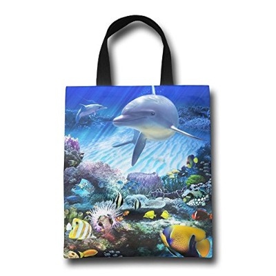 GJOHKRT Shopping Handle Bags -Dolphins Under The Sea Personalized Tote Bag
