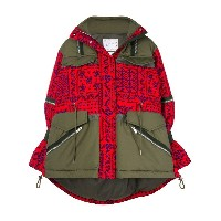 Sacai patchwork military jacket - レッド