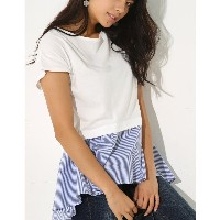 【SALE 55%OFF】【AZUL BY MOUSSY】裾シャツ切替ボートネック半袖プルオーバー 柄WHT
