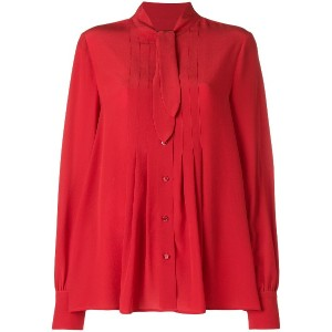 Moschino gathered tie neck blouse - レッド