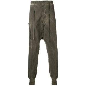Lost & Found Rooms zip over drop-crotch trousers - ブラウン