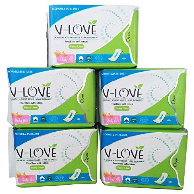 VLOVE Anion Cotton Pantyliners for Teens,Wingless Herbal Scented 150Pieces(Pack of 5)