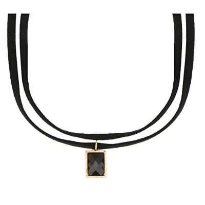 accessorisinggブラックDouble Layer Choker with Stoneチャーム[ pd128 ]