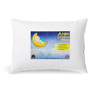 Angel Dreams Toddler Pillow, 13x18, Hypoallergenic, Soft Pillows for Kids. Use in Bed or Crib for...