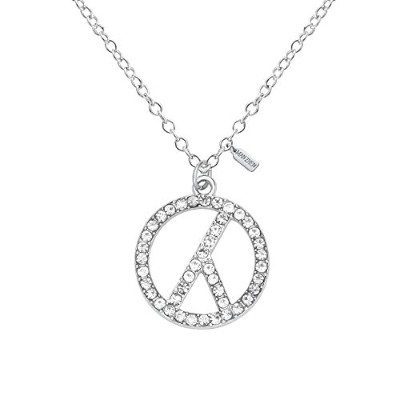 manzhen Delicate Crystal Peace Sign Pendantネックレス平和シンボルラウンドY形状ネックレスステンレススチール Chain Length:18+2inches...