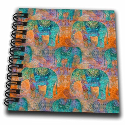 3drose Andrea Haase動物図–Ethnic Inspired象パターンでオレンジとターコイズ–Drawing Book 4x4 notepad db_262979_3