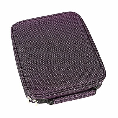 Globalbid 120 Slots Large Coloured Pencil Case Multilayer Foldable Drawing Bag With Zipper Purple