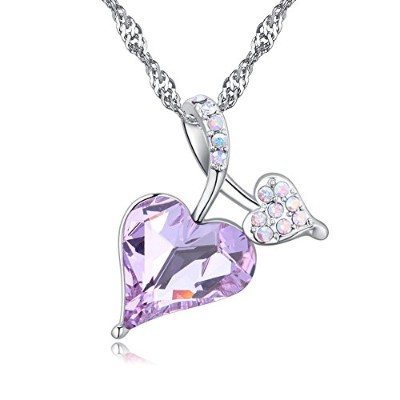 karvnar Heart of OceanハートペンダントネックレスMade with Swarovski Crystals パープル
