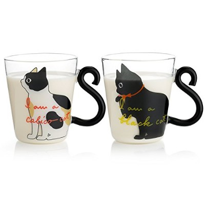 Teocera 300ml Cat Coffee Mugs Set - Black & White Glass Coffee Cups with Cat Tail Handle for Crazy...
