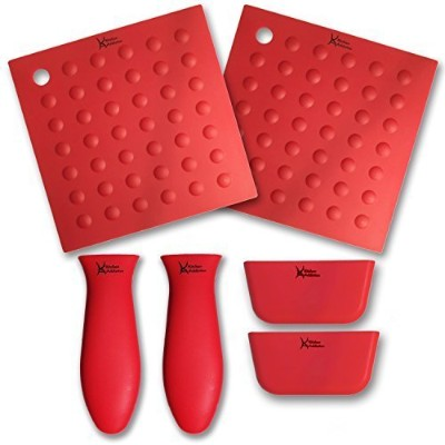 6 PIECE SILICONE KITCHEN SET - Kitchen Addiction 2 Hot Handle Holders, 2 Trivet/Potholder/Grippers,...