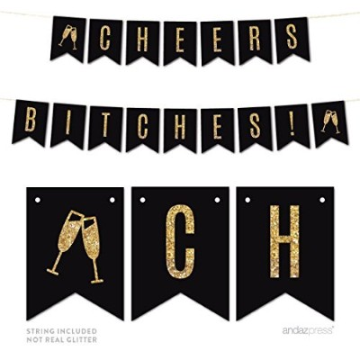 Andaz Press Gold Glitter Print Hanging Pennant Party Banner with String, Wedding Bachelorette...