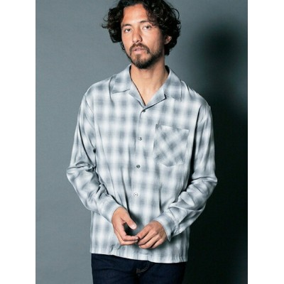 【SALE/40%OFF】Magine E/C OMBRE CHK OPEN COLLAR SHIRTS L/S マージン シャツ/ブラウス【RBA_S】【RBA_E】【送料無料】