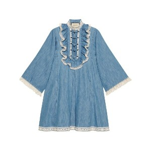 Gucci Denim tunic with lace detail - ブルー